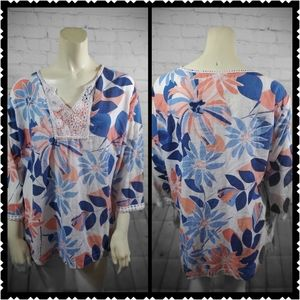 Blair xl floral blouse sheer v neck lace top